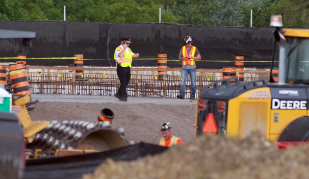 The Ontario Provincial Police are investigating an industrial accident after a worker was killed at the Herb Gray Parkway in LaSalle, Ontario. (JASON KRYK/The Windsor Star)